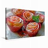 Premium Textil-Leinwand 75 cm x 50 cm quer Köstliche Apfelrosen - Rote Äpfel im knusprigen Blätterteig | Wandbild, Bild auf Keilrahmen, Fertigbild auf echter Leinwand, Leinwanddruck