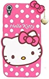 Jotech® Cute Hello Kitty Soft Silicone with Pendant Back Cover for HTC Desire 626 - (Pink)