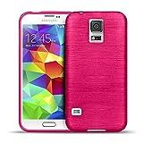Samsung Galaxy S5 Neo, S5 TPU Gummi Hülle Pink, Metall Optik Brush Design, Schutzcover Bumper, Handyhülle aus Silikon Galaxy S5 Neo, S5 Cover Rückschale Pink, Samsung Galaxy S5 Neo, S5 (5,1 Zoll (13 cm)