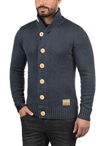 SOLID Pete Herren Strickjacke Cardigan Grobstrick mit Stehkragen aus hochwertiger Baumwollmischung Insignia Blue Melange (8991)