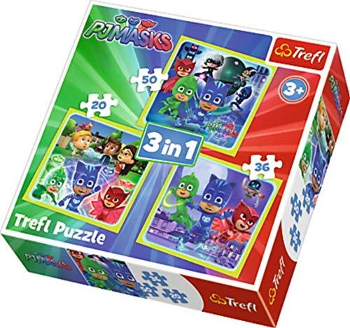 Trefl 3in1 Puzzle PJ Masks 20-36-50 Teile, Mehrfarbig, 34840 (Neue Disney Pj)