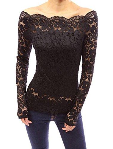 Smile YKK Modern Schulterfrei Slim Fit Long Sleeve Damen Spitze Pullover Shirt Hemd Blusen T-Shirt Sweater Schwarz