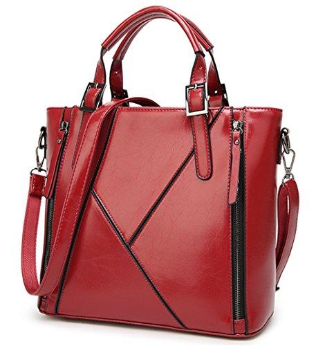 Xinmaoyuan Borse donna Borsetta tracolla messenger bag cera Olio di cucitura della pelle Borsa da donna Rosso