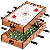 Costway Table de Jeu Multigame 2 en 1, Jeu Football et Air Hockey,Table Baby-Foot Contient Tous Les Accessoires pour Les Adultes et Les...