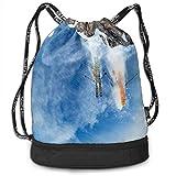 NasNew Skiing Jump Print Drawstring Bags - Simple Bundle Pocket Backpack