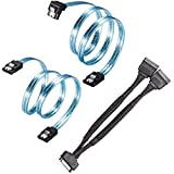 Zheino 1X SATA 3.0 6Gbps recto cable, 1 X SATA 3.0 6Gbps ángulo de 90 grados Cable, 1 X de 15 Pin a doble 15 pin SATA alimentación Splitter Cable