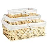 VonHaus Set of 3 Beige Wicker Storage Baskets | Display Hamper for Bathroom, Living Room, Kitchen or Lounge | Decorative Shelf Gift Box w/Removable Washable Lining
