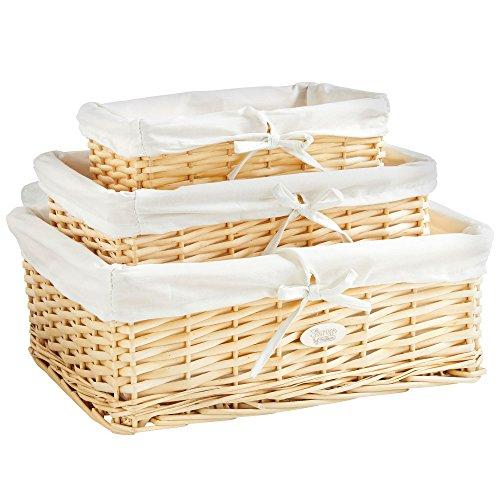 VonHaus Set aus 3 Aufbewahrungskörben aus Natürlicher Weidenrute mit Herausnehmbarer Innenauskleidung zum Waschen