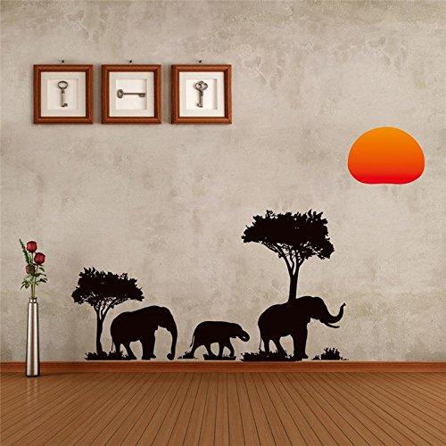 Árbol negro elefantes pegatinas de pared decoraciones de la sala x. Calcomanías...