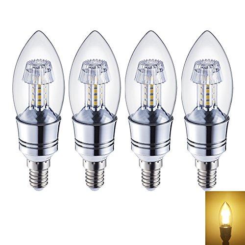 rayhoo E12Sockel Leuchtmittel Kandelaber LED Leuchtmittel 6W, Glühlampen 60W Leuchtmittel Entspricht, nicht dimmbar, warm weiß 3000K, 4Stück