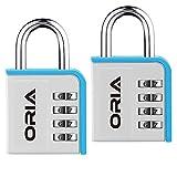 ORIA 2 Pack Kombinations 4-Stellige Vorhängeschloss Zahlenschloss für Schule