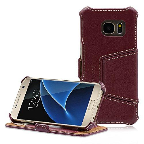 Manna Handy Smartphone Hülle, kompatibel mit Samsung Galaxy S7, Lederhülle Tasche, Nappaleder Leder, Case Cover für SM-G930F, Etui Standfunktion, braun