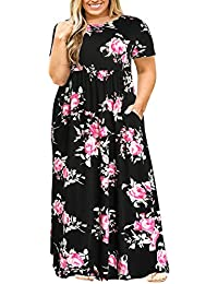 4e8e709b500 Nemidor Women Short Sleeve Loose Plain Casual Plus Size Long Maxi Dress  with Pockets