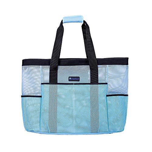 OOSAKU Mesh Strandtaschen Tote Shopping Travel Picknick Lebensmittelgeschäft Lagerung Handtaschen mit übergroßen Taschen Reißverschlüsse (xl, Blau)