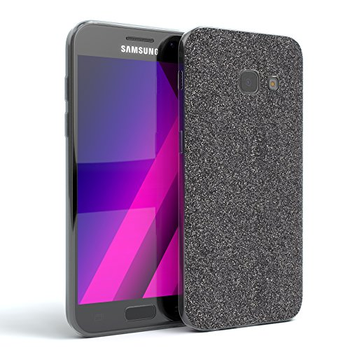 EAZY CASE GmbH Hülle für Samsung Galaxy A3 (2017) Schutzhülle mit Glitzerrückseite, Slimcover Clear, ultra dünn, Handyhülle, TPU Hülle / Silikon Soft Case, Silikonhülle, Backcover Quartz Design, Anthrazit