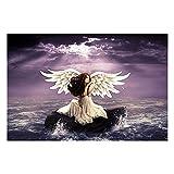 YQSL Dipinti su Tela Quadro Moderno Quadro Soggiorno Wall Art 1 Pezzo Angeli Pietre d'Acqua Ali Fantasy Girls Poster Home Decor Immagini Stampate No Frame (50X70 cm)