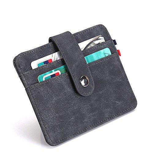 sciuU Kreditkartenetui Echtes Thin PU-Leder Kartentasche mit RFID Schutz, Wallet ideal für Herren und Damen, Dunkelgrau