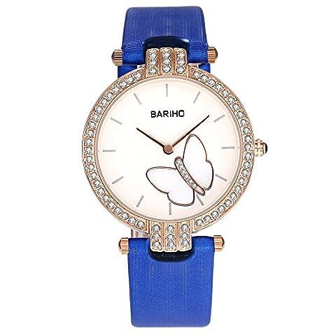 HongBoom Luxury Genuine Blue Leather Band Wrist Watch 30m Waterproof Women's Casual Business Analogue Quartz Czech Zircon