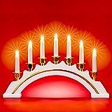 SIKORA LB64 klassisch eleganter Holz Lichterbogen / Schwibbogen mit 7 elektrischen Kerzen, Farbe:elfenbein weiss