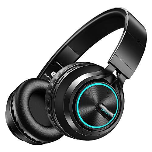 Picun Bluetooth Kopfhörer LED Lampe Headset mit Mikrofon, 20 Std. Spielzeit, Dual 40mm Treiber Stereo Bass Over Ear Kopfhörer Kabellos unterstützt TF Karte und Kabelmodus für TV/Handy/PC (Schwarz) Bluetooth Pc Kopfhörer