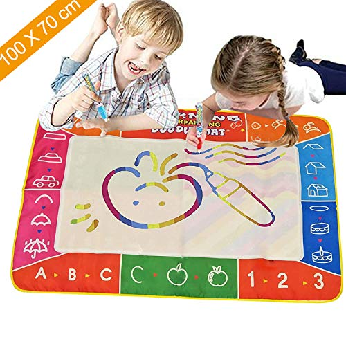 Water Drawing Mat, Large Size (39.4X27.5inch) Aqua Magic Doodle Mat Repeated Writing Painting Pad with 3 Magic Pens and 9 Stamps, Great Educational Toys for Toddlers Age 2 3 4 5 6 7 8 Years Old