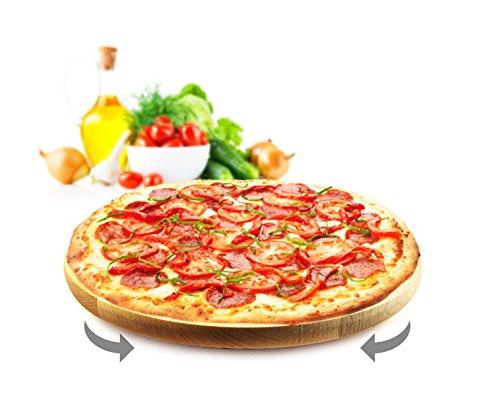 Sendez Drehteller Pizzateller ø 30 cm drehbar Holzteller Drehplatte Buche Käseteller