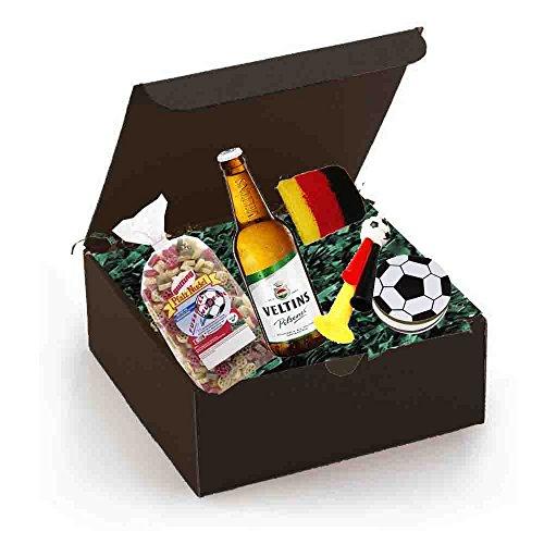 Geschenkset Fußball//Mit Fußballundel, Flasche Bier, Fußballtröte, Fußball,Notizheft, Schweißband
