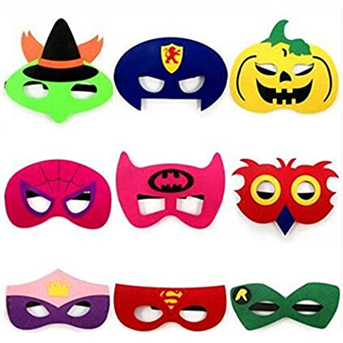 9 Piezas de Halloween Máscara de Niños Mantas no Tejidas con Diferentes Mascarilla de Dibujos Animados para el Cabrito Partido de la Mascarada