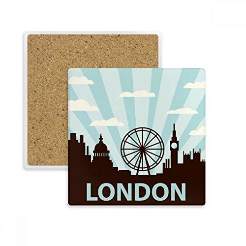 DIYthinker Großbritannien UK London Eye Silhouette Vereinigtes Königreich Platz Coaster-Schalen-Becher-Halter Absorbent Stein für Getränke 2ST Geschenk Mehrfarbig