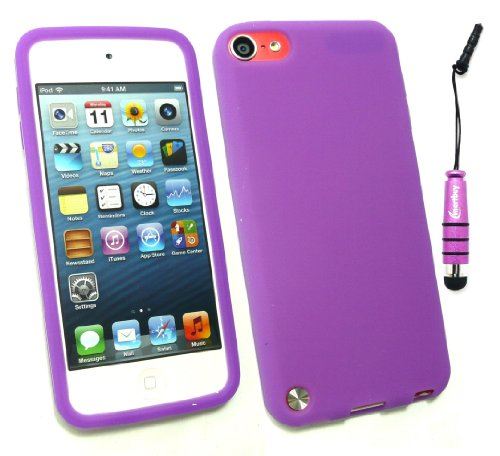 Emartbuy ® Stylus Pack Für Apple Ipod Touch 5 (5. Gen Oktober 2012 Release) Mini Metallic Purple Stylus + Silicon Skin Cover / Case Purple + Lcd Screen Protector