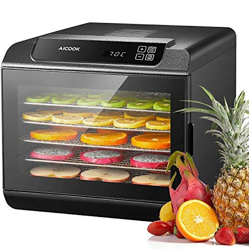 Aicook essiccatore frutta e verdura, display led, timer di 19.5 ore, 6 ripiani lavabili in lavastoviglie, disidratatore per alimenti, essiccatore alimentare, temperatura regolabile(35-70℃), 500w