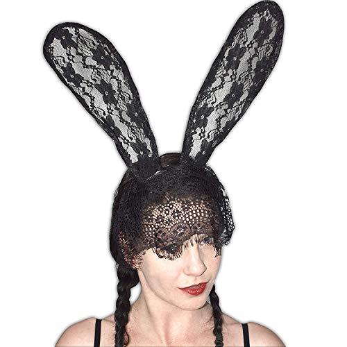 Sexy Bunny Halbmaske mit langen Ohren für Fasching (schwarz Spitze) Bunny Hood