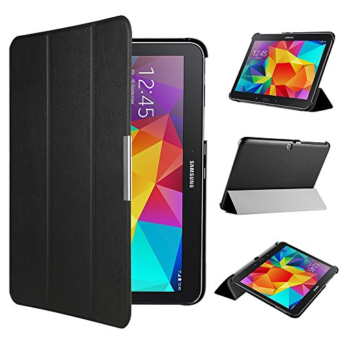 EasyAcc Hülle für Samsung Galaxy Tab 4 10.1 SM-T530 SM-T535, Smart Cover mit Auto Sleep Wake up/Standfunktion PU Leder Hüllen Kompatibel für Samsung Galaxy Tab 4 10.1 (Schwarz, Ultra Dünn)