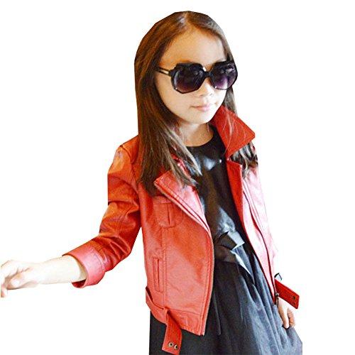 LSERVER PU Jacke Mädchen Kinder Stylische Jacke Motorrad Mantel Kleinkinder Herbst Mantel Outwear,Rot,146