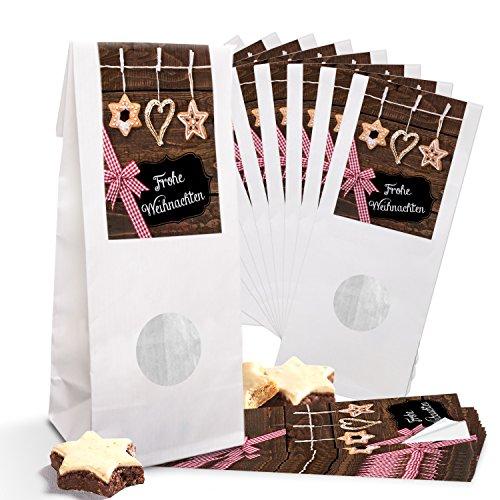 10 kleine weiße Papiertüten Weihnachtstüten für Gebäck MIT FENSTER Pergamin-Einlage (7 x 4 x 21,5 cm) + 10 Strohschmuck rot braun schwarze Weihnachtsaufkleber 5 x 15 cm Frohe Weihnachten