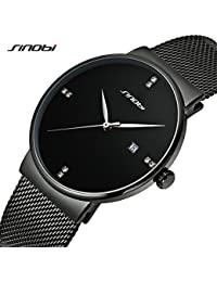 Sinobi hombres mujeres de la pulsera de malla Simple reloj de pulsera Ultra delgado caso minimalismo hombre relojes reloj de pulsera