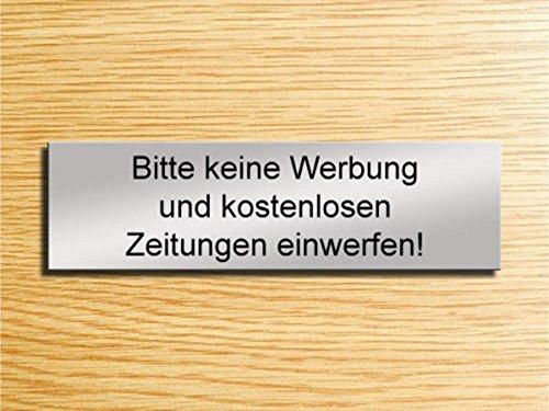 Gravola Briefkastenschild - Bitte Keine Werbung & Zeitung einwerfen! (Silber)