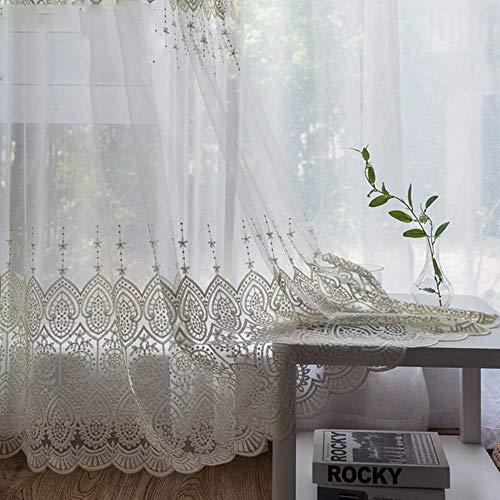 PENVEAT Zarte bestickte Tüll Vorhänge für Wohnzimmer weiß Sheer Volie Fenster Vorhang für Schlafzimmer Spitze Cortina para Sala, besticktem Tüll, B180cm x H250cm, Pull Plissee Tape