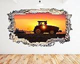 N576Gießkannenaufsatz Farm Traktor Schneepflug Sunset zerstörten Wand Aufkleber 3D Kunst Aufkleber Vinyl Zimmer (groß (90x 52cm))
