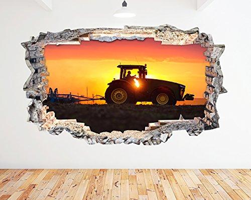 tekkdesigns N576Gießkannenaufsatz Farm Traktor Schneepflug Sunset zerstörten Wand Aufkleber 3D Kunst Aufkleber Vinyl Zimmer (groß (90x 52cm))
