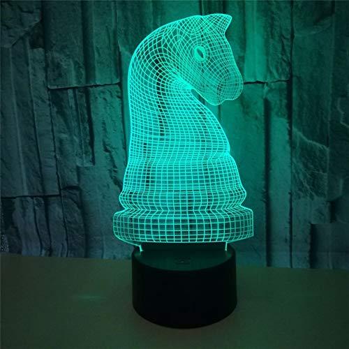 Lámpara de mesa LED de 7 colores Caballo de Ajedrez