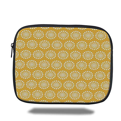 Tablet Bag for Ipad air 2/3/4/mini 9.7 inch,Yellow and White,Monochrome Ornament Pattern Abstract Dandelion Blossoms Shabby Colors Decorative,Marigold White,3D Print Apple Blossom Pattern