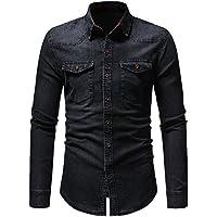 Hombre camisa manga larga Otoño,Sonnena ❤️ Camisa vintage otoño invierno de los hombres Camiseta de manga larga en denim sólido desgastado Blusa superior