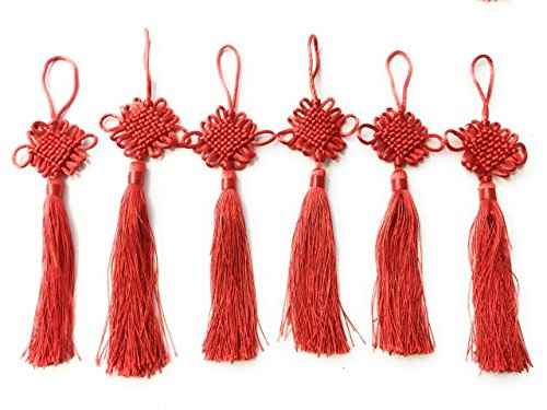 Job Lot 6 Red Chinese New Year Lucky Knot Knotting Cord Feng Shui Tassel Bag Charm Car / Wall Hanging 中国结