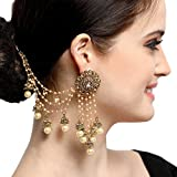 #4: The Luxor Gold Plated American Diamond Bahubali Long Chain Jhumki Earrings for women (ER-1735)