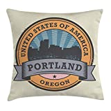VVIANS Oregon Throw Pillow Cushion Cover, West Coast State Silhouette Rubber Stamp Design with Grunge Effect Worn Out Look, Decorative Square Accent Pillow Case, 18 X 18 inches, Multicolor