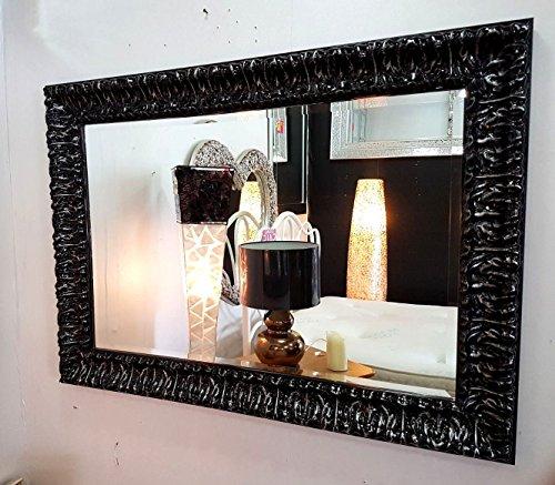Premierinteriors Wandspiegel French Holz Kunstvolles Antik Schwarz Silber abgeschrägten Glas 110x 80cm -