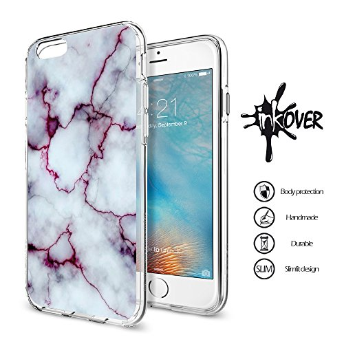 Cover iPhone 6 / 6S - INKOVER - Custodia Cover Protettiva Guscio Soft Case Bumper Trasparente Sottile Slim Fit Tpu Gel Morbida INKOVER Design JOKER Smile Cavaliere Oscuro Bat Man per APPLE iPhone 6 /  MARMO 5