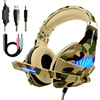 Beexcellent PS4 Xbox One Cuffie Gaming Stereo Deep Bass Noise Cancelling Headset Auricolare Gioco con Microfono Volume Controllo LED light per PC, Mac, Tablet, Smartphone