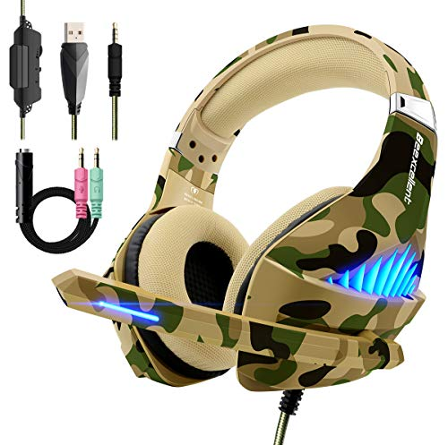 Gaming Headset für PS4 Xbox One, Beexcellent Deep Bass Gaming Kopfhörer mit Mikrofon Stereo Sound Noise Isolation und Lautstärkeregler Over-Ear Headset für PC Computer Laptop Mac Nintendo Switch Smartphone iPhone